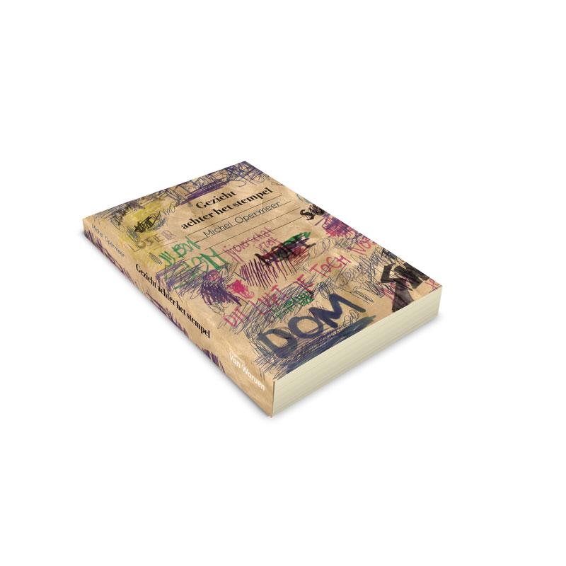 boekcover ontwerp het gezicht achter het stempel boekomslag